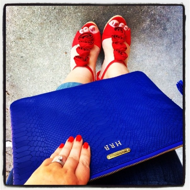 Red and Blue accessories added a nice POP of color. Red heels by Steve Madden.