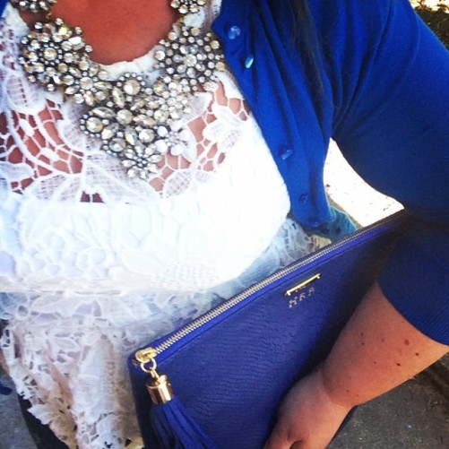 Lace peplum, gigi new york clutch and a JCrew statement necklace to finish it off.