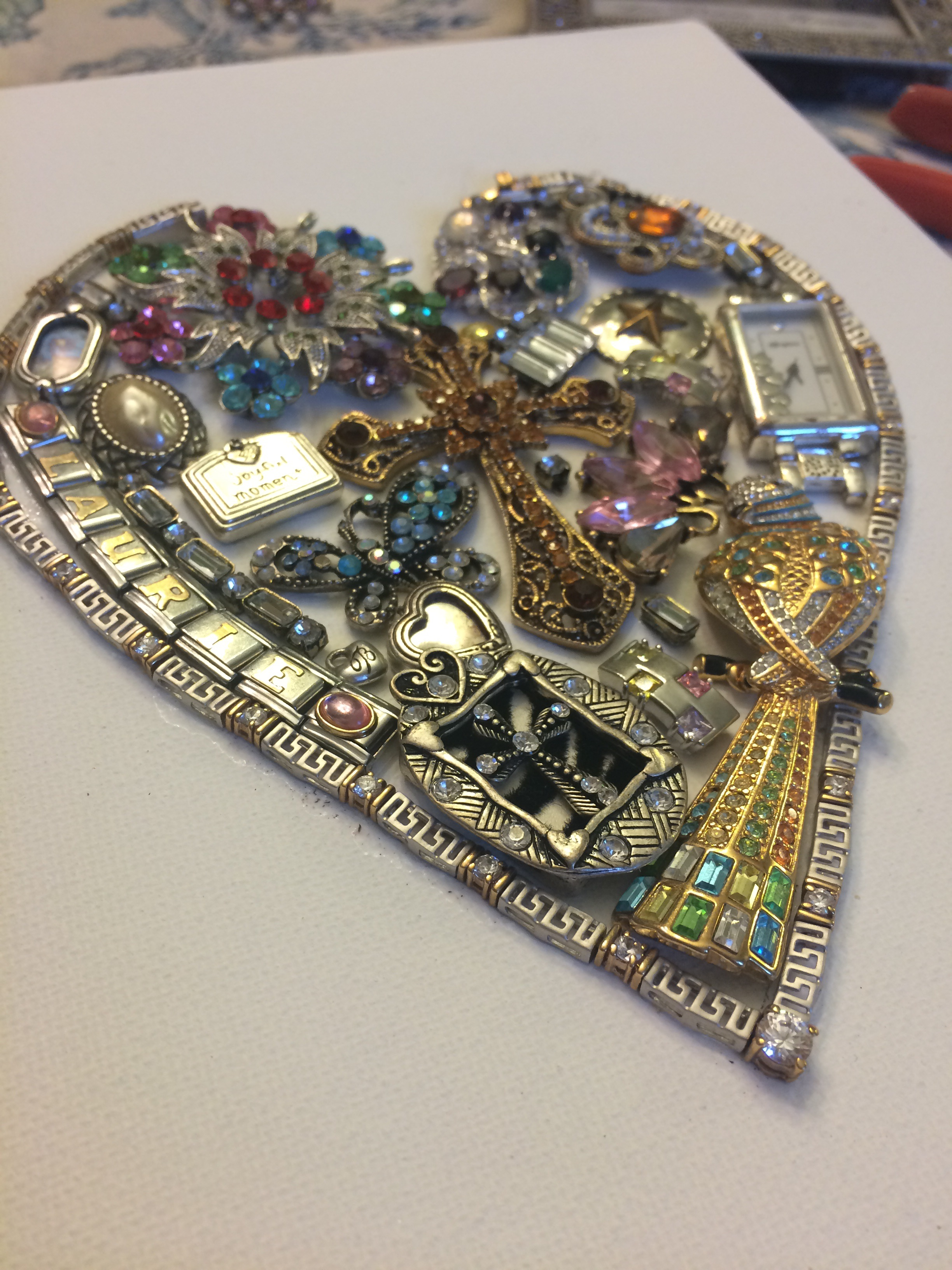 Diy Jeweled Heart On Canvas Coco For Beauty Blog